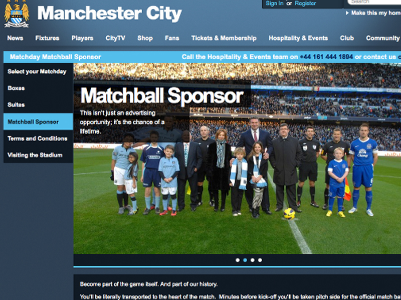 ICP Networks sponsor the match ball at Manchester City