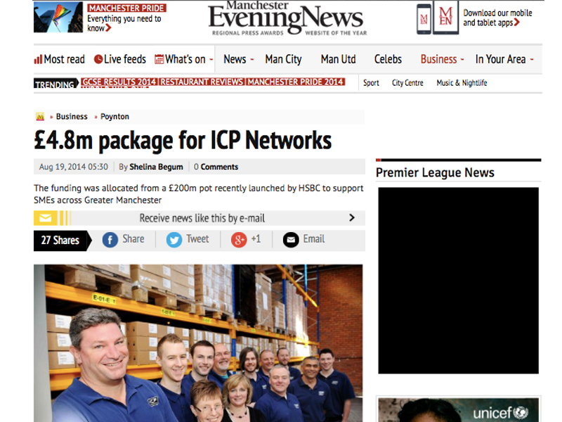 Manchester Evening News highlight ICP Networks multi million partnership with HSBC