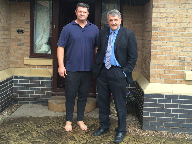 Matt-Archer-was-interviewed-by-BBC-North-West-Dave-Guest-reporter-after-his-house-was-flooded-in-Poynton